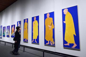 再興された祖師画14枚 興福寺の寺宝と畠中光享展、県五浦美術館で初公開