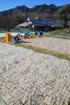 晴天の寒さが厳しい中で行われている凍みこんにゃく作り=大子町袋田