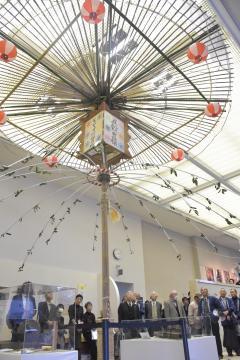 からかさ万灯の実物が展示されている=土浦市立博物館
