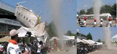 突風が1グラウンドを横切る2テントに近づく3テントを巻き上げる(右上から時計回り。読者提供の映像から)