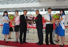 春秋航空の上海便3周年を祝った記念式典=小美玉市与沢