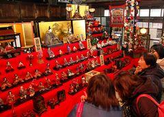真壁のひなまつりが開幕し、旧家のひな人形に見入る観光客=桜川市真壁町真壁