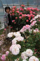 震災復興支援オープンガーデンを開催している小林幸子さん=筑西市森添島