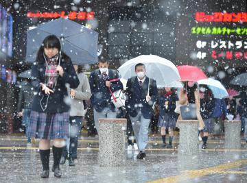雪が降る中、通勤通学する人たち=24日午前8時50分ごろ、水戸市宮町、菊地克仁撮影