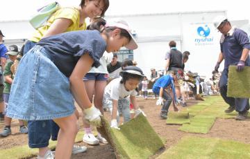 芝張りに挑戦する子どもら=水戸市南町