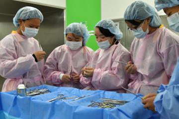 手術室でメスやペアンの医療機具を手に取る職場体験の中学生たち=古河市下山町の古河赤十字病院