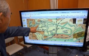 デジタルアーカイブシステム「ADEAC」で閲覧できる水戸城周辺の地図。常磐線や水郡線のほか貨物線も確認できる=水戸市内