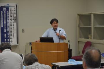 茨城大の研究成果や取り組みについて報告する藤田昌史准教授=水戸市文京