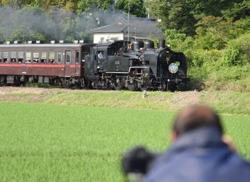 真岡線で運行されている蒸気機関車(SL)のC11形。沿線には多くのSLファンが撮影に訪れる=筑西市中舘