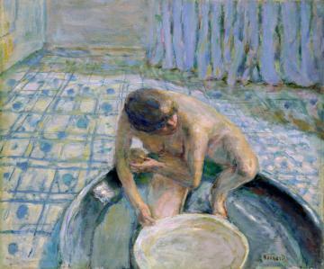 ピエール・ボナール「浴槽、ブルーのハーモニー」(1917年ごろ、ポーラ美術館蔵)