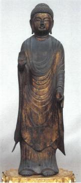 銅造阿弥陀如来立像(笠間市教委提供)
