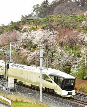偕楽園駅に初めて乗り入れたトランスイート四季島=7日午前、水戸市、菊地克仁撮影