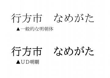 従来の書体とUDフォントの比較(行方市提供)