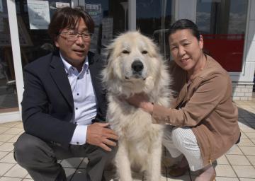 人命救助に貢献した根本芳光さん、千寿さん夫妻とモモ=鉾田市新鉾田