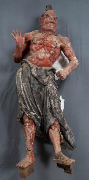 修復前の金剛力士立像(吽形)=東京都台東区の東京芸術大学