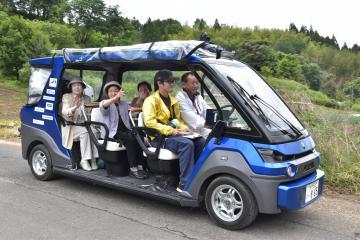 山間部での自動運転サービスの実証実験が始まった=常陸太田市下高倉町