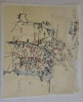 現在の青森県や岩手県、秋田県が記された地図の下図。「津軽南部改正図」の文字が見える