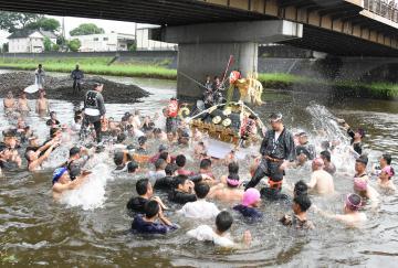 下館祇園まつりの川渡御で五行川に入り、担ぎ手の男たちからみそぎの水しぶきを浴びる明治みこし=筑西市丙