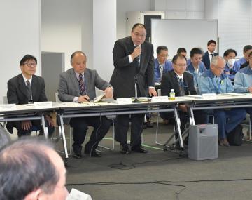 台風19号の影響や報告された課題などが話し合われた=千葉県香取市