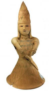 初公開の三角巾をかぶる人物埴輪(東海村提供)