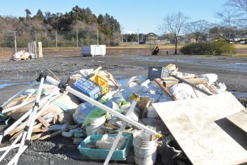 台風19号で発生した災害ごみの搬出をほぼ終えた田野市民運動場=水戸市田野町