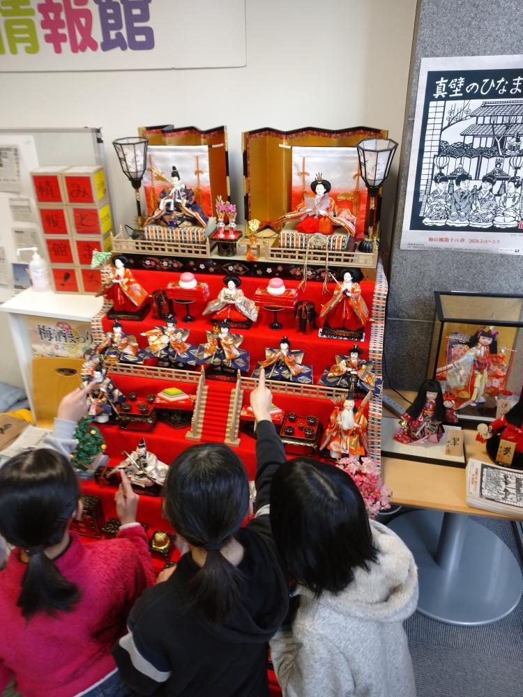 ひな人形の段飾りを鑑賞する子どもたち=水戸市南町