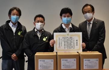 除菌スプレー60リットルを寄贈したさしま茶生産者輸出協議会