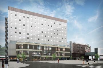 常磐線いわき駅南口に建設される高層ホテルのイメージ(JR東日本水戸支社提供)