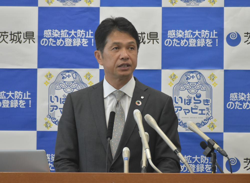 コロナ対策指針のステージ2への緩和などを発表した大井川和彦知事=県庁