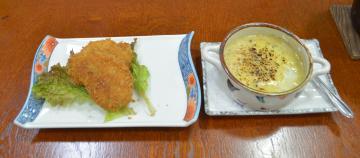 試食会で提供されたアンコウを使ったクリームコロッケ(左)とグラタン