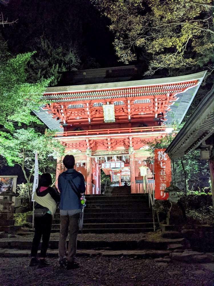 ライトアップされた花園神社の仁王門=北茨城市華川町花園