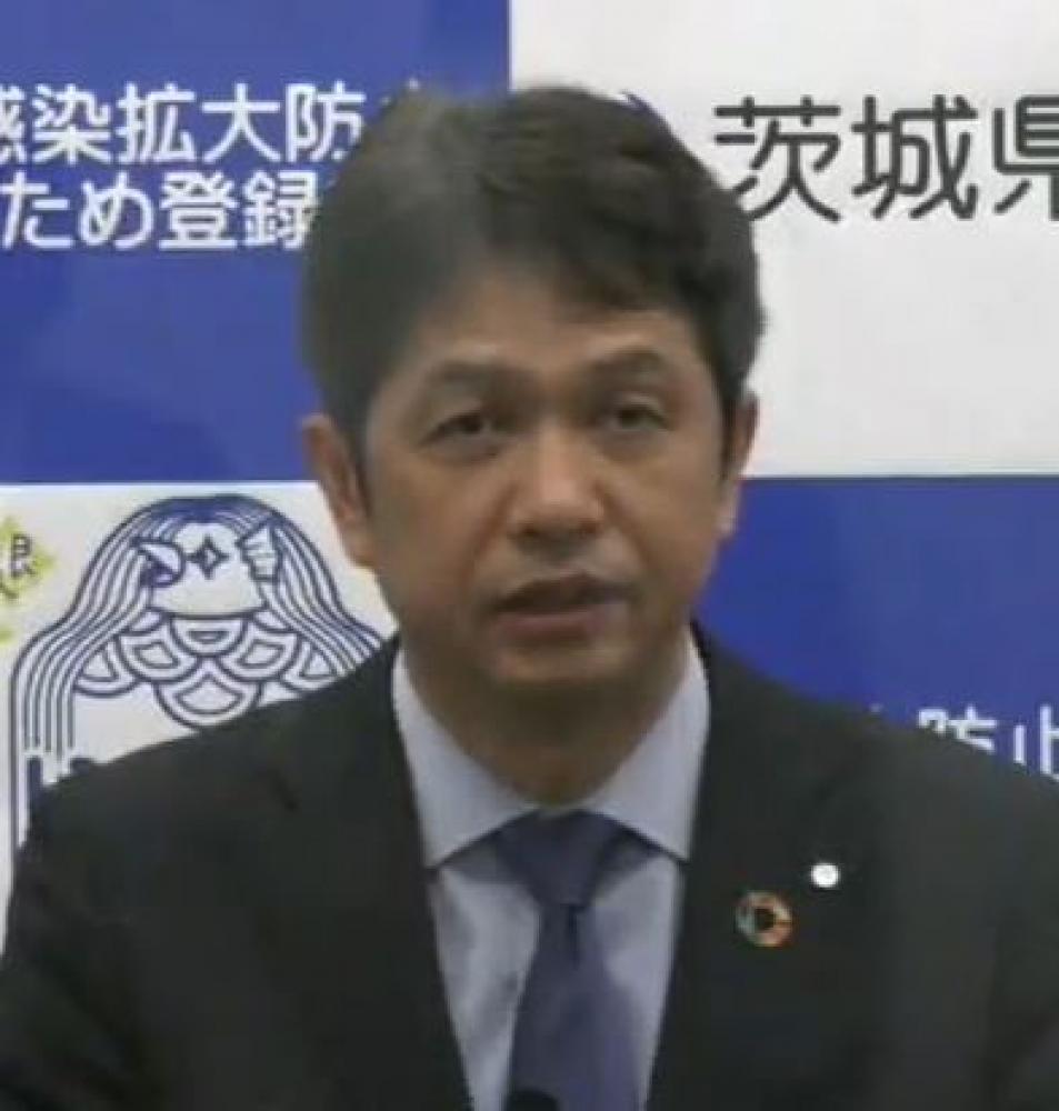 会見する茨城県の大井川和彦知事