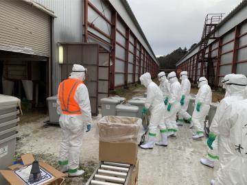 鳥インフルエンザが発生した養鶏場で殺処分に使う資材を準備する県職員ら=2日午前、城里町内(県提供)