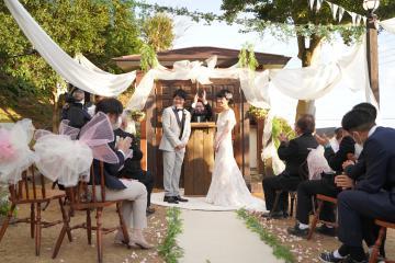 高級温泉旅館で初めて行われた結婚式=静岡県河津町