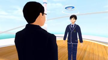 入学式で新入生宣誓をする加藤路瑛さんの分身画像(提供:S高等学校・N高等学校)