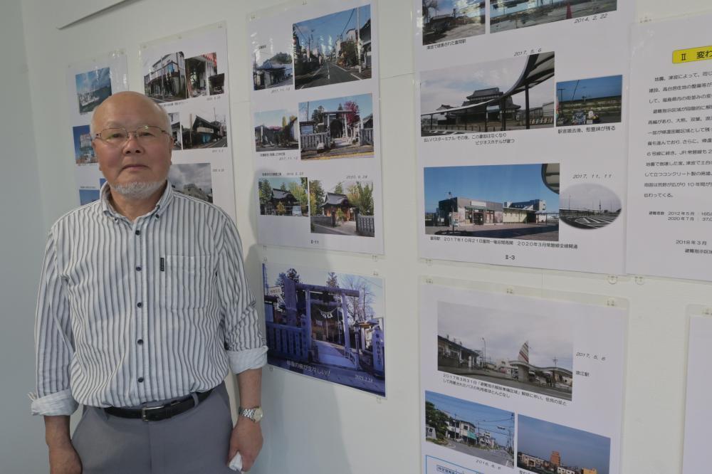 東京電力福島第1原発事故の被災地を10年間撮影し続けてきた泉幸男さん=水戸市南町