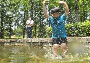 水遊び「気持ちいい」 茨城県内、今季初の真夏日の画像