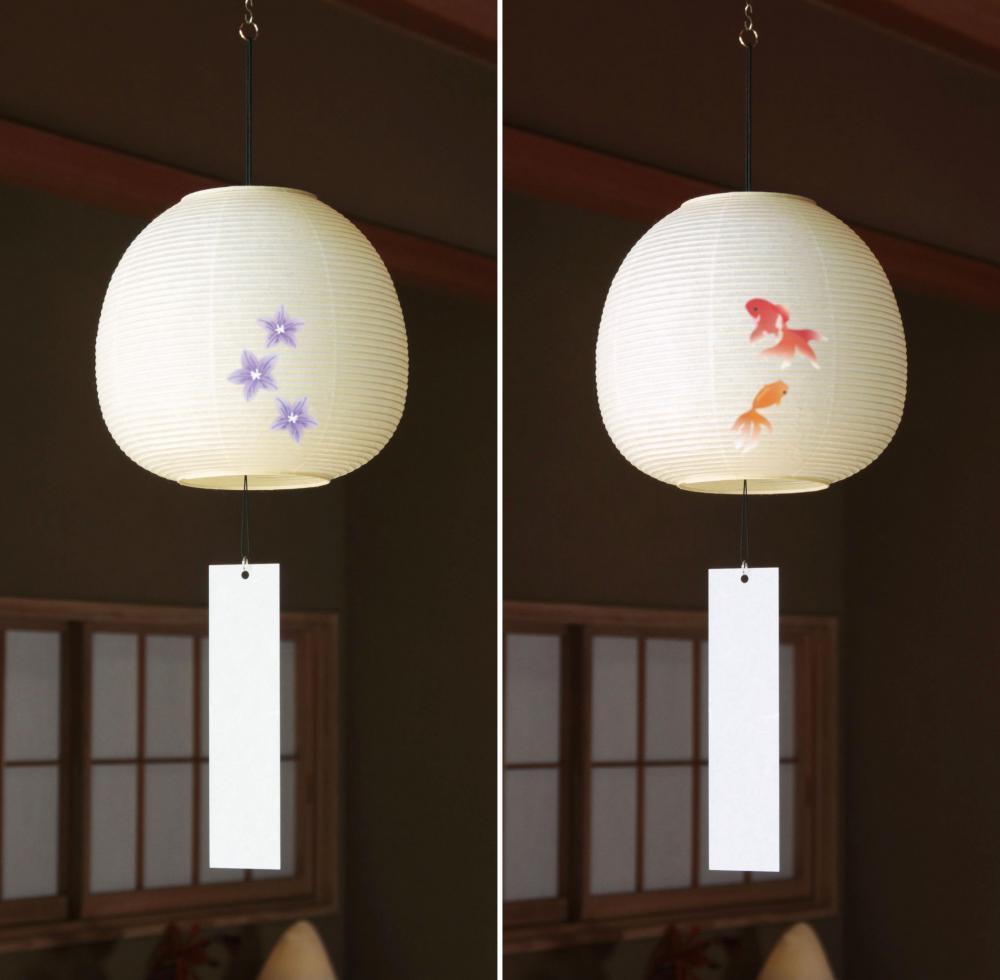 「ききょう」の絵入り(左)と「金魚」の絵入りの風鈴ちょうちん(鈴木茂兵衛商店提供)