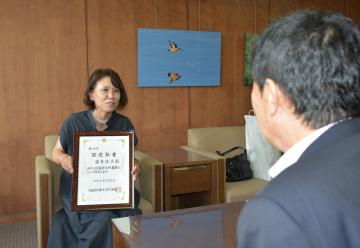 女性農業士認定 霜多さん、市長に報告 茨城・取手の画像