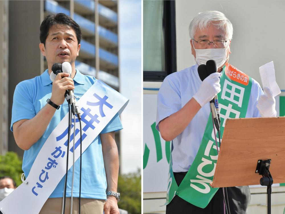 第一声を発する大井川和彦氏と街頭で演説する田中重博氏(左から)=水戸市内、菊地克仁撮影