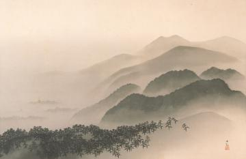 横山大観「月満山」1937年、県近代美術館蔵