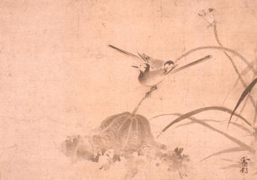 雪村周継「敗荷鶺鴒図」室町時代(16世紀)、県立歴史館蔵