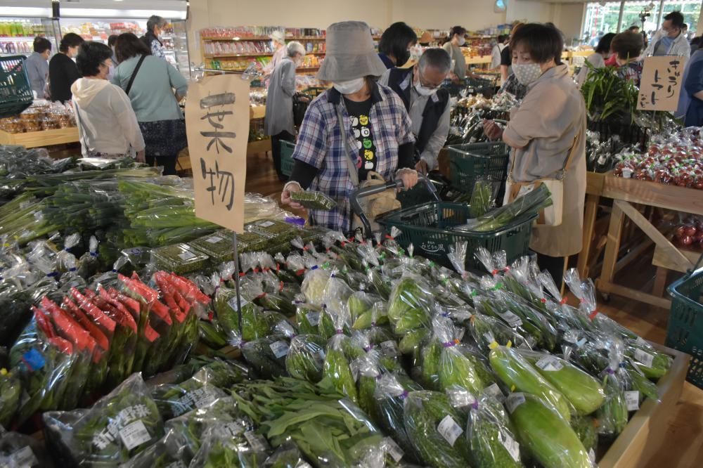 新鮮な野菜が並ぶ道の駅かさま=笠間市手越