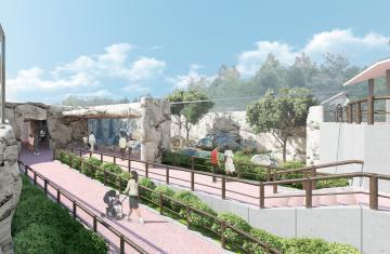 来夏オープンに向け整備が進む日立市かみね動物園の新しい猛獣舎の完成イメージ