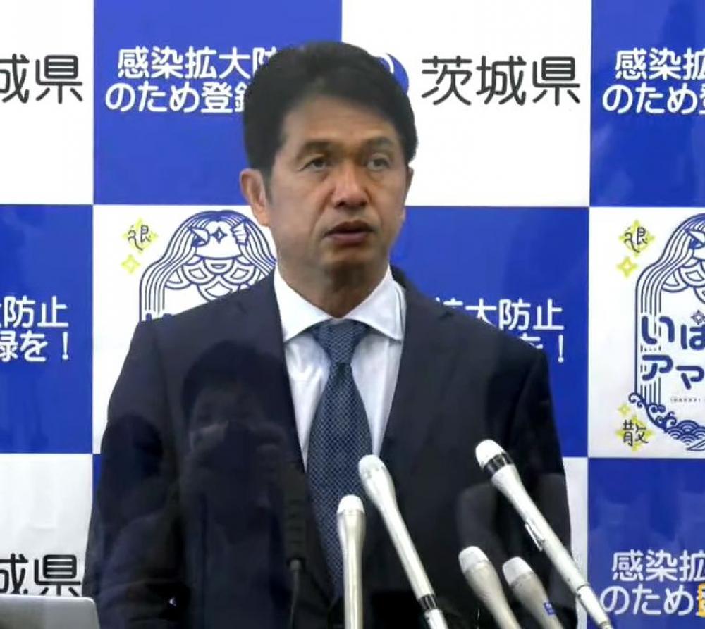 会見する大井川知事=県庁