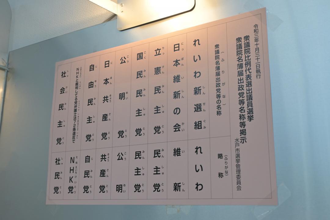 比例代表の政党名が書かれた掲示。立憲民主、国民民主の略称はいずれも「民主党」になっている=水戸市役所1階の期日前投票所